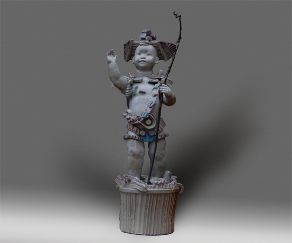 28''h X 11''w X 11''d  <p/>Budai, the Loving or Friendly One, was a wandering Chan Buddhist monk who lived in the ninth century.<p/>According to Chinese legend he carried a sack of candy to give to children.<p/>In the sixteenth century he was cannonized as the sixteenth and last Chinese bodhisattva.<p/>His hope for the suffering, combined with his pleasing, human features, made him a most popular Buddhist deity.